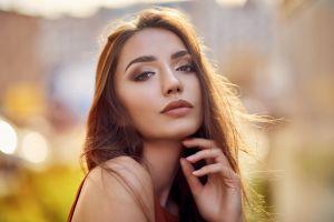 face women women outdoors portrait bokeh