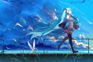 fan art vocaloid clouds white skin hatsune miku blue black stockings blue hair landscape cyan hair