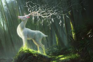 fantasy art deer illustration artwork drawing digital art forest