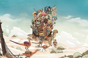 fantasy art desert creature environment adventurers