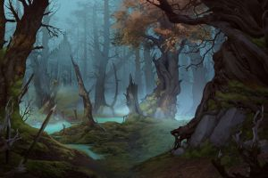 fantasy art digital art elizaveta lebedeva swamp