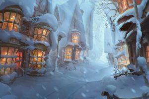 fantasy art elizaveta lebedeva winter house city digital art snowing