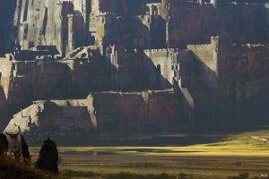 fantasy art environment adventurers sword horse fort castle