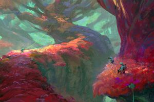 fantasy art forest digital art environment max frorer artwork trees