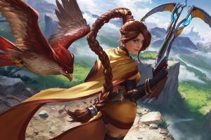 fantasy art hawk (animal) brunette women looking back artwork digital art thigh-highs thighs crossbow green eyes paladins: champions of the realm looking at viewer video games ponytail