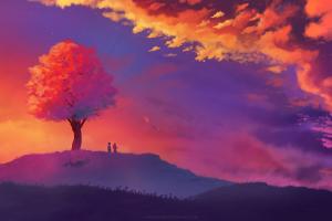 fantasy art landscape tree bark nature illustration sunset
