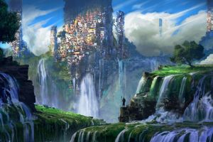 fantasy art mountains warrior plants city landscape waterfall favela illustration