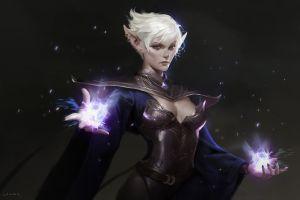 fantasy art short hair boobs magic fantasy girl white hair