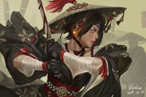 fantasy girl 2017 (year) blood warrior samurai fantasy art guweiz z.w. gu katana digital art water drops
