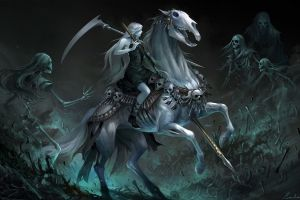 fantasy girl horse riding artwork skeleton horse skull fantasy art