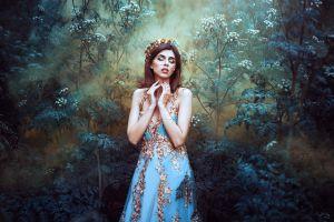 fantasy girl portrait model blue dress women closed eyes