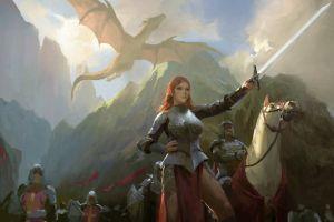 fantasy girl women digital art armored illustration fantasy art sword army horse medieval flag warrior dragon mountains