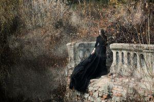 fantasy girl women outdoors black dress brunette women dress