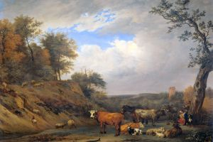 farmers cow livestock paulius potter classical art animals landscape painting artwork