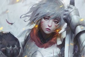 feathers knight sword windy armored banner rain women blood