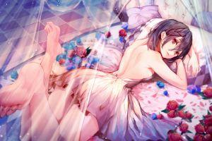 feet bareback bed roses anime girls lying on front