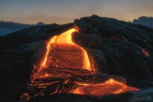 fiery volcano fire nature dark lava