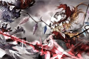 fighting remilia scarlet vampires anime girls video games touhou izayoi sakuya flandre scarlet dress