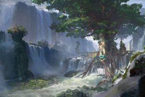 finnian macmanus  artwork trees waterfall fantasy art digital art tree house