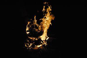 fire burning night wood