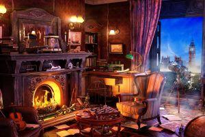 fireplace house explorer chess light house telescope big ben london