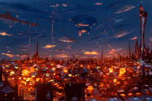 fireworks ryky painting city zeppelin digital art