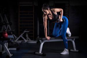 fitness model working out gyms sports bra brunette leggings women