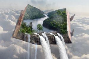 floating sky waterfall fantasy art fly