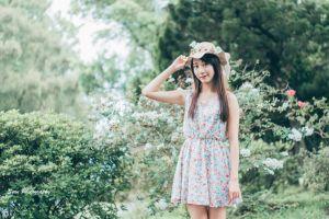 flower dress women with hats plants dress model women outdoors hat women garden brunette asian