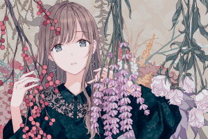 flowers branch artwork digital art looking at viewer portrait face long hair women original characters anime anime girls earring drawing hiten