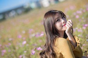flowers long hair women model asian brunette eyeliner women outdoors
