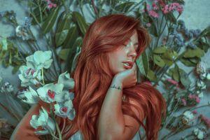 flowers white flowers redhead women model tattoo closed eyes long hair