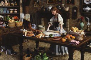 food interior kitchen artwork women