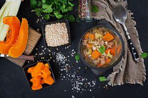 food pepper cutting board rice celery soup salt spoon knife parsley