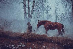 forest animals brown winter snow snowing gray trees dirt horse mist horseman men overcast birch