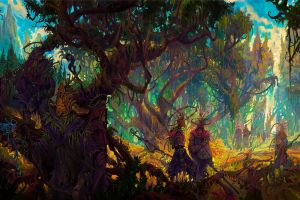 forest colorful fantasy art druids staff creature overgrown