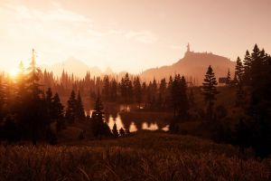forest mountains video games screen shot playstation far cry 5 games art sunset water far cry nature