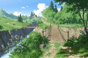 forest pathway trees house flowers grass bridge nature digital art
