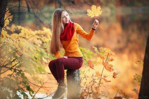 forest sergey shatskov scarf women bokeh model yellow sweater jeans leaves fall sitting women outdoors log portrait looking away