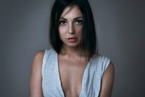 foxy di model hair in face freckles women portrait brunette looking at viewer face cleavage