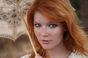freckles model gray eyes mia sollis women depth of field metart magazine redhead face umbrella bokeh looking at viewer portrait