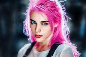 freckles portrait women blue eyes face pink hair eyeliner gustavo terzaghi