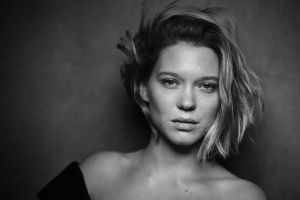 french actress monochrome looking at viewer léa seydoux women portrait