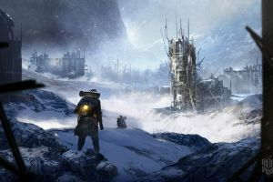 frostpunk apocalyptic snow video game art video games artwork games art