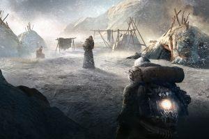 frostpunk video game art dark games art snow artwork video game art people video games