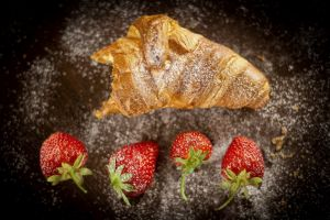 fruit croissants food sugar  strawberries