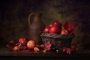 fruit still life apples food baskets leaves