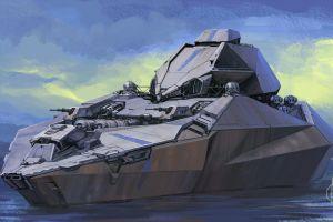 futuristic artwork ship battleship