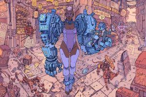 futuristic city artwork cyborg futuristic