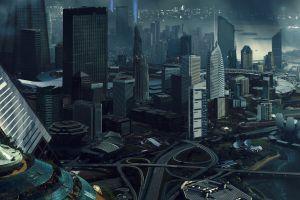 futuristic city cityscape digital art futuristic